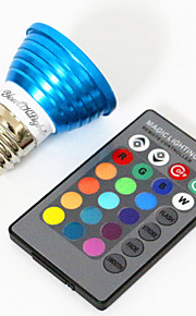 3W E26/E27 Spot LED MR16 1 LED Haute Puissance 240 lm RVB Décorative V 1 pièce
