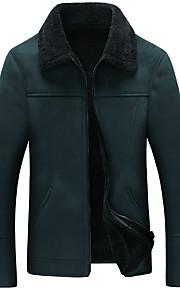 אחיד צווארון V וינטאג' / פשוטה מידות גדולות ז'קטים מעור גברים,שחור / חום / ירוק שרוול ארוך סתיו / חורף עבה פוליאוריתן / פרוות כבש