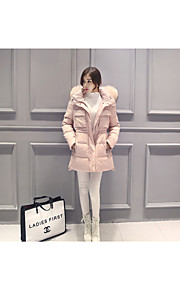 Women's Long Down Coat,Simple Casual/Daily Solid-Others White Duck Down Long Sleeve Hooded Blue / Pink / Black