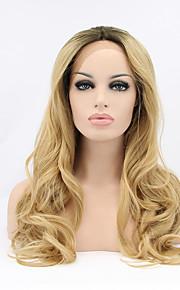 Sylvia syntetisk blonder foran parykk svarte røtter blonde hår ombre hår varmebestandig lang naturlig bølge syntetiske parykker