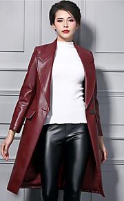 Damen Solide Street Schick Ausgehen Trenchcoat,Winter V-Ausschnitt Langarm Rot Dick PU