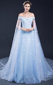Formel aften Kjole - Konvertibel kjole Glitrende Elegant Wrap er inkluderet A-linje Bateau Hofslæb Tyl med Applikeret broderi