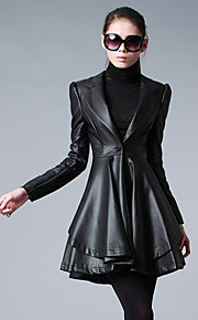 Women's Casual/Daily Simple Fur Coat,Solid V Neck Long Sleeve Winter Black Faux Fur Medium