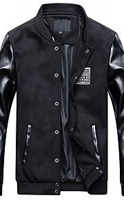 Herren Solide Einfarbig Retro Einfach Ausgehen Lässig/Alltäglich Übergröße Jacke,Frühling Herbst Ständer Langarm Blau Schwarz Grau Mittel