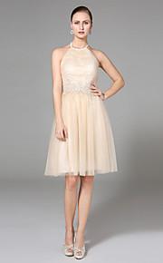 Lanting Bride® Trapèze Robe de Mariage  - Chic & Moderne Dos ouvert Mi-long Licou Tulle avec Appliques Perlage Drapée