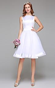 Robe de mariée en satin organza à organe à genoux avec arc de ceinture