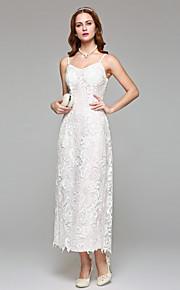 Gaine / colonne bretelles spaghetti thé longueur robe de mariée en dentelle avec dentelle