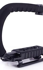 mini u forme dslr kamera dv videokamera video lommelygte handling stabilisator grip håndtag holder flash beslag
