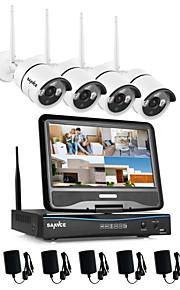 Sannce® 2.4g 10.1 lcd 4ch hd sin hilos 720p wifi nvr 1500tvl en / al aire libre ir cortó el sistema de la seguridad de la cámara del IP