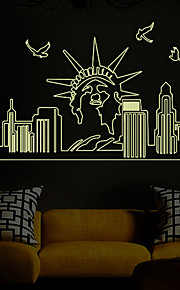 Architecture Still Life Wall Stickers Plane Luminous Wall Stickers Decorative Wall StickersPaper Material Home Decoration with The Statue of Liberty