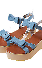 Women's Sandals Summer Creepers Comfort Ankle Strap Denim Office & Career Athletic Casual Creepers Bowknot Buckle Light Blue Dark Blue