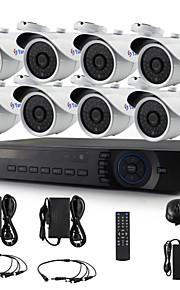 yanse® 8-kanaals 720p d / n cctv camera ir 36LED bullet waterdichte bedrade ahd dvr kit beveiligingssysteem