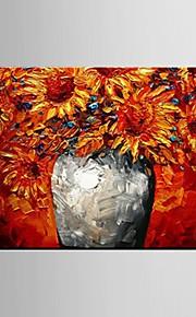 手描きの 静物画 花柄/植物の 横長,Modern 田園 1枚 キャンバス ハング塗装油絵 For ホームデコレーション