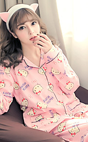 Women Suits Teddy Nightwear,Print Print-Medium Cotton Pink