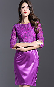 JOJO HANS Women's Formal Party/Cocktail Cute Bodycon DressEmbroidered Round Neck Above Knee  Length Sleeve Purple Polyester Spring Summer Mid Rise