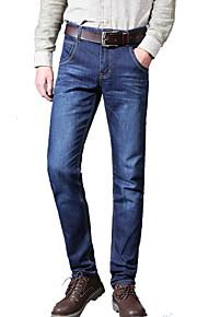 Herren Schlank Gerade Jeans Hose-Lässig/Alltäglich Einfach einfarbig Mittlere Hüfthöhe Knopf Polyester Baumwolle Micro-elastischSommer