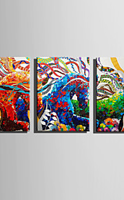 E-HOME Stretched Canvas Art Running of The Colored Horse Decoration Painting Set Of 3