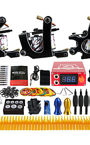 Complete Tattoo Kit 3 Pro Machine Power Supply Foot Pedal Needles Grips TK352