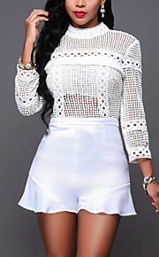 Women's Slim RompersCasual/Daily / Club Sexy / Street chic Solid Cut Out Slim Mesh Round Neck Long Sleeve Mid Rise Micro-elastic