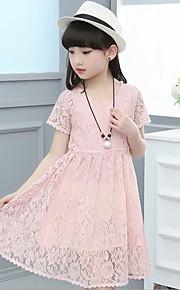 Mädchen Kleid Strand einfarbig Blumen Baumwolle Polyester Sommer Frühling Kurzarm