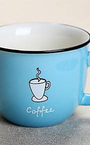 카툰 파티 드링크웨어, 300 ml 간단한 기하학적 패턴 세라믹 주스 우유 일상용 컵