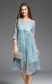 JOJO HANS Women's Going out Cute Loose DressFloral Round Neck Midi  Length Sleeve Blue Pink Polyester Spring Summer Mid Rise Micro-elastic Medium