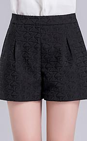 Damen Übergrössen Breites Bein Kurze Hosen Hose-Ausgehen Lässig/Alltäglich Einfach Niedlich einfarbig Jacquard Hohe Hüfthöhe