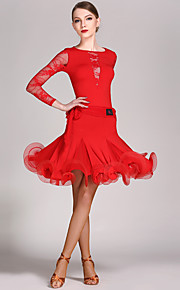 High-quality Viscose and Lace with Ruffles Latin Dance Outfits for Women's Performance (More Colors)