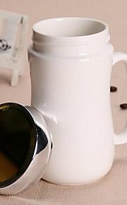 클래식 드링크웨어, 400 ml 간단한 기하학적 패턴 세라믹 차 누드 일상용 컵