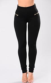 Damen Skinny Chinos Hose-Lässig/Alltäglich Klub Street Schick Vintage Einfach einfarbig Hohe Hüfthöhe Elastizität Polyester