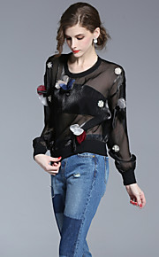 FRMZ Women's Going out Simple Spring Summer ShirtSolid V Neck Long Sleeve Black Polyester