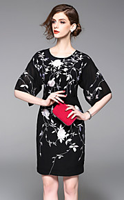 JOJO HANS Women's Going out Cute Sheath DressEmbroidered Round Neck Above Knee  Length Sleeve Black Cotton Polyester Spring Summer Mid Rise
