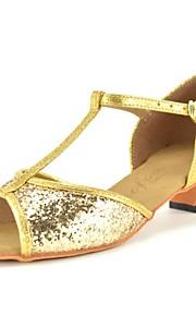 Zapatos de baile(Rojo Plata Oro) -Latino-No Personalizables-Tacón Cuadrado