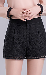 Damen Übergrössen Breites Bein Kurze Hosen Hose-Ausgehen Lässig/Alltäglich Einfach Niedlich einfarbig Gitter Jacquard Hohe Hüfthöhe