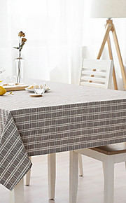 Square Striped Gingham Table Cloth , Linen / Cotton Blend Material Table Decoration 1/set