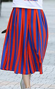 Damen Übergrössen Lose Chinos Hose-Lässig/Alltäglich Aktiv Gestreift Mittlere Hüfthöhe Reisverschluss Polyester Micro-elastischAll