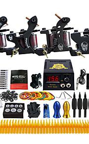 Complete Beginner Tattoo Kit 4 Pro Machine Power Supply Needle Grips TKD02