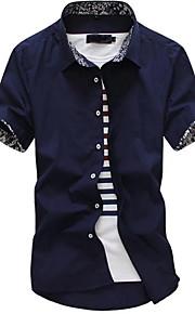 דפוס צווארון חולצה פשוטה בוהו ליציאה יום יומי\קז'ואל עבודה חולצה גברים,כל העונות קיץ שרוולים קצרים כותנה פוליאסטר