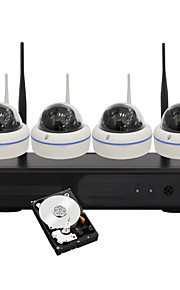 yanse® 1.3MP cúpula wireless NVR kit IR Night Vision wi-fi 15led câmera IP (built-in disco rígido de 1 TB)