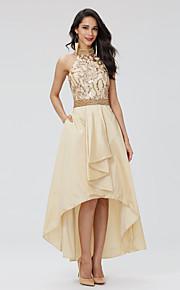 TS Couture® נשף חגים שמלה - נוצץ וזוהר גב יפהפייה גזרת A קולר א-סימטרי טפטה נצנצים עם חרוזים קפלים