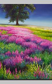 手描きの 花柄/植物の 縦長,Modern 田園 1枚 キャンバス ハング塗装油絵 For ホームデコレーション