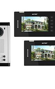 actop 7inch 4wire touch screen multi lejlighed video dørtelefon intercom-system med 2 opkaldstryk