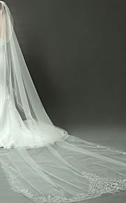 הינומות חתונה שכבה אחת צעיפי קתדרלה חיתוך קצה אורגנזה
