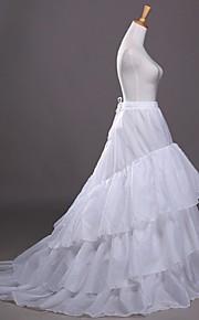 תחתונית  בת ים וסליפ שמלת חצוצרה שובל קפלה Cathedral-Length 3 פוליאסטר לבן שחור