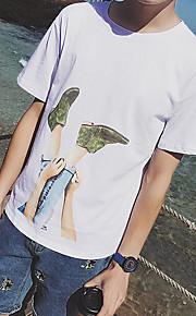 Enfärgad Kortärmad Ledigt/vardag T-shirt,Enkel Herr Rund hals Bomull