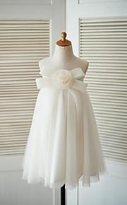 Fourreau / Colonne Mi-long Robe de Demoiselle d'Honneur Fille - Tulle Bijoux avec Noeud(s) Fleur(s)