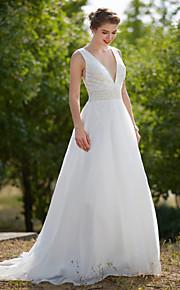 LAN TING BRIDE A-linje Bryllupskjole - Glamorøs & Dramatisk Gjennomsiktige Svøpeslep V-hals Organza med Drapering Perler