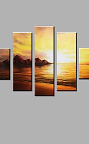 Maalattu Abstrakti Mikä tahansa muoto,Moderni 5 paneeli Kanvas Hang-Painted öljymaalaus For Kodinsisustus