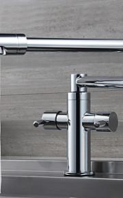 現代風 ポットフィラー センターセット 回転可 with  セラミックバルブ 二つのハンドルつの穴 for  クロム , 水栓