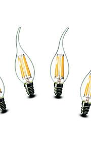 4.5W E14 Ampoules Bougies LED CA35 6 COB 500 lm Blanc Chaud Décorative AC 100-240 V 4 pièces